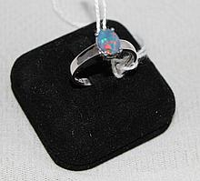A White Gold Opal Doublet Set Ring