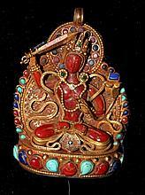 A Sino-Tibetan Geen Tara Pendent , Probably 19th Century