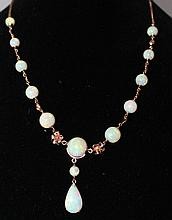 An  Rose Gold Opal Mounted Necklet