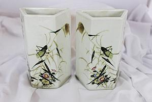 A Good True Pair of Chinese Rhomboid Wall Vases, Probably Republic