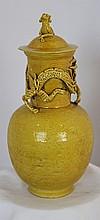 An Archaic Style Yellow Glazed Lidded Jar ,