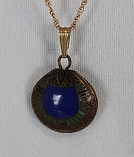 An Egyptionesque Revival Enamel Pendent , c 1920