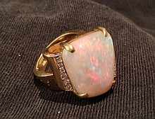 A Chinese Diamond and Opal Set Ring ,