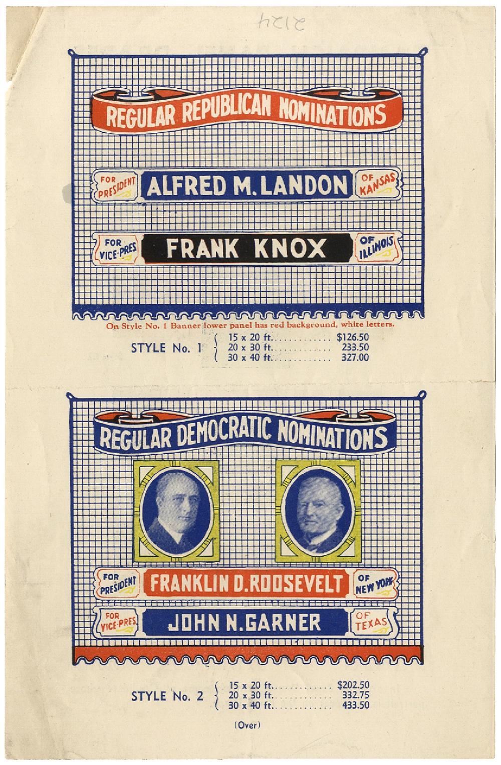 1936 ADVERTISING FOR PRESIDENTIAL PANEL DRAPES