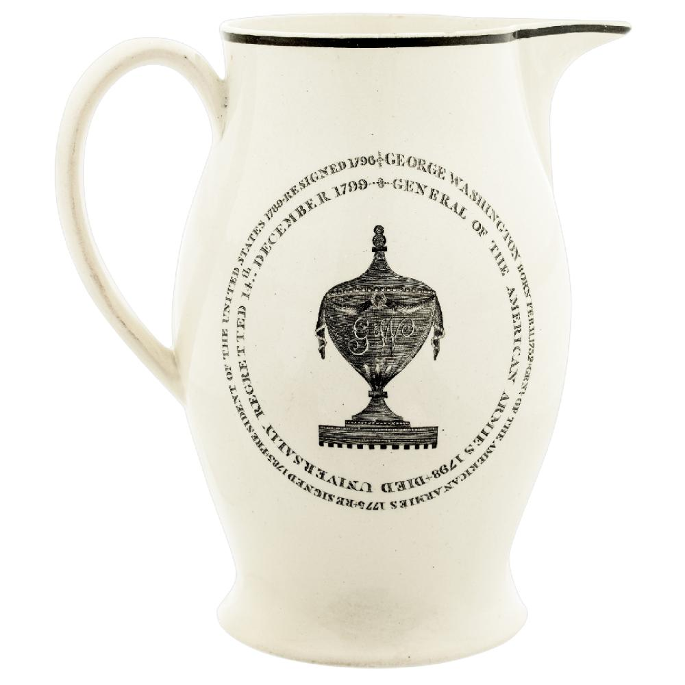 1800 JACOB PERKINS GEORGE WASHINGTON FUNERAL URN MEDAL LIVERPOOL POTTERY PITCHER