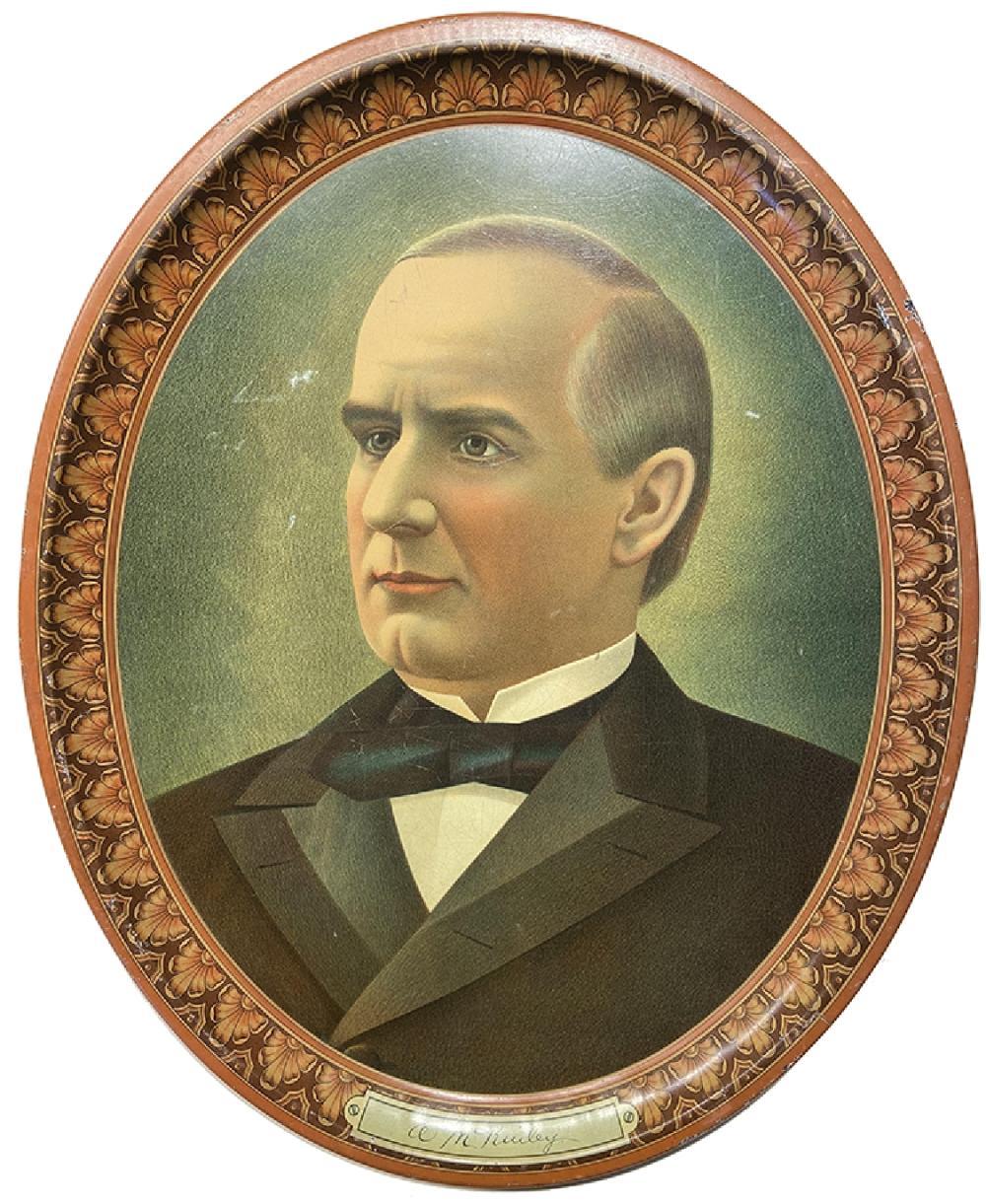 1896 WILLIAM MCKINLEY OVAL PORTRAIT TRAY PLATE