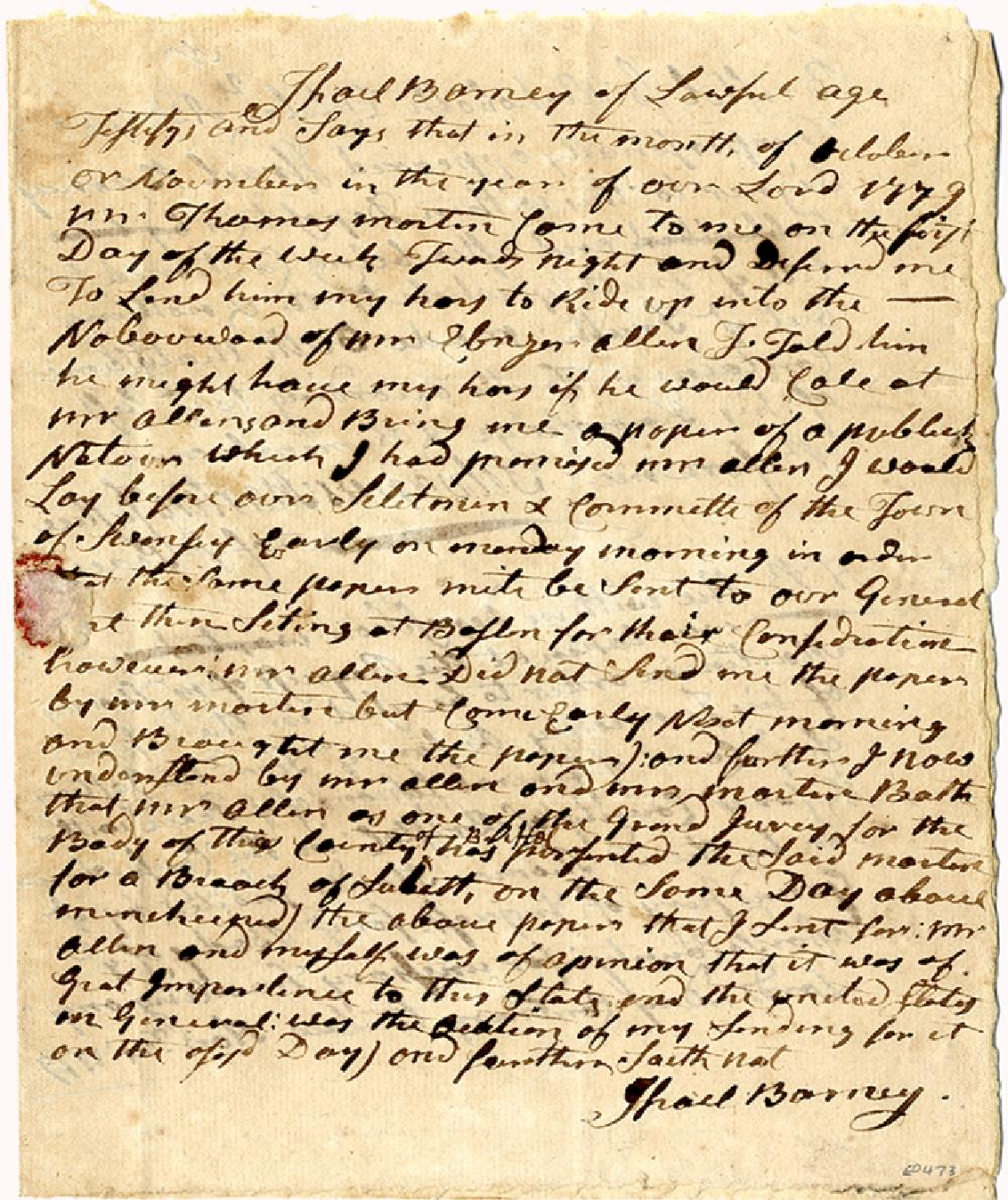 """1779 MASSACHUSETTS INDICTMENT """"FOR UNNECESSARY TRAVELING ON YE LORD'S DAY CONTRARY TO LAW."""