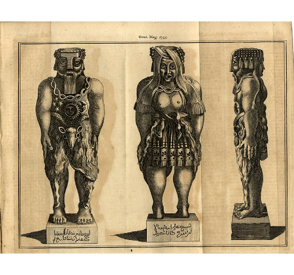 1755 COPPER ENGRAVING OF AN UNUSUAL STATUE