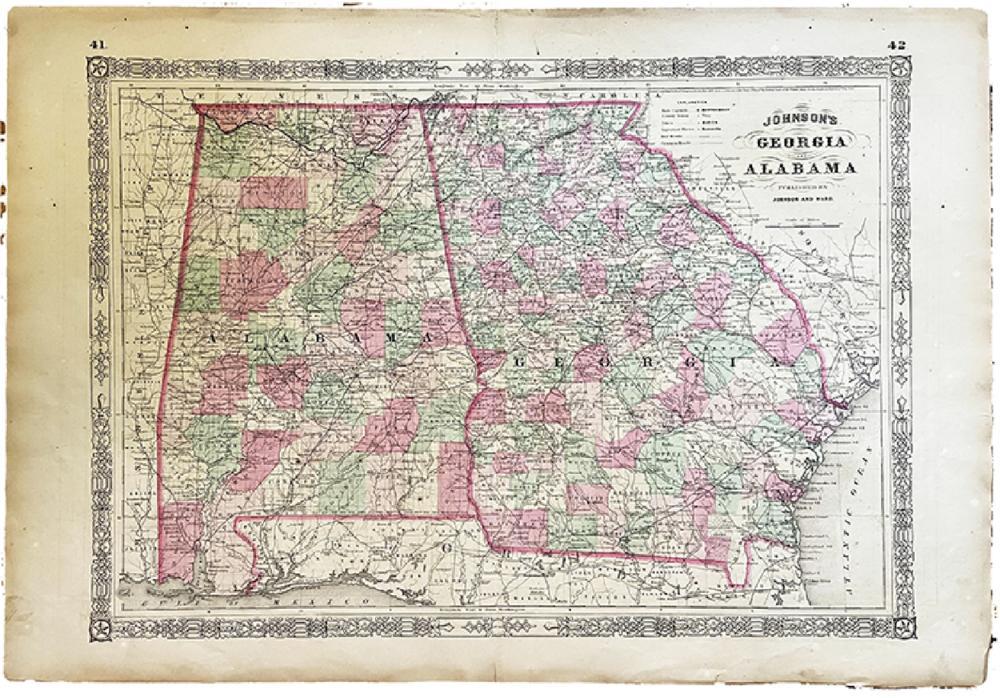 1863 MAP OF GEORGIA AND ALABAMA