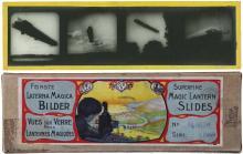 1910s-20s ZEPPELIN MAGIC LANTERN GLASS SLIDE SET IN ORIGINAL BOX