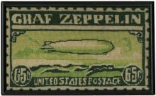 1950s-60s GRAF ZEPPELIN NEEDLEPOINT PIECE RESEMBLING 65¢ U.S. ZEPPELIN STAMP C13