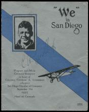 1927 CHARLES A LINDBERGH SIGNED 'WE' IN SAN DIEGO PROGRAM
