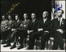 1960s MERCURY 7 PHOTO SIGNED BY THREE ASTRONAUTS