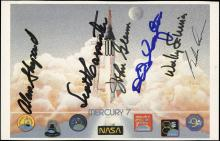 1980s MERCURY 6 SIGNED LIFTOFF CARD