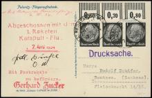 1934 ZUCKER ROCKET MAIL TRIAL FLIGHTS 1 & 2
