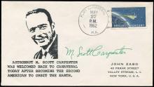 MA-7 1962 SCOTT CARPENTER SIGNED COVERS OR CARD (x4)
