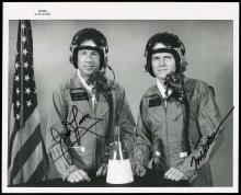 GT-7 1965 CREW SIGNED NASA  B&W PHOTOS (x2)