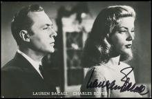 1950s-70s-ERA SIGNED ACTRESS PICTURE POSTCARDS (x12), LAUREN BACALL, LESLIE CARON, PAT BOONE, OTHERS