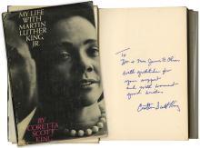1969 SIGNED, INSCRIBED BOOK, CORETTA SCOTT KING