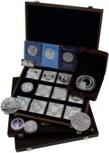 1970s-90s COMMEMORATIVE SILVER SPACE COINS & MEDALLIONS (x53)