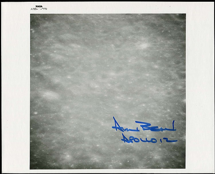 APOLLO 12 1969 ALAN BEAN SIGNED LUNAR SURFACE NASA B&W; PHOTOS (x4)