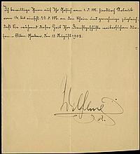 1902 KAISER WILHELM II SIGNED DOCUMENT