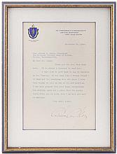 1920 CALVIN COOLIDGE TYPED LETTER ON MASSACHUSETTS LETTERHEAD