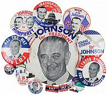 1964/68 LYNDON B. JOHNSON CAMPAIGN BUTTONS & LAPEL BADGES (x22)