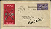 c.1945 BABE RUTH AUTOGRAPH ON BASEBALL STAMP FIRST DAY COVER
