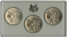 OLYMPICS 1964-96 SMALL COLLECTION OF OLYMPIC COINS, STAMPS & OTHER ITEMS