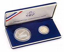 USA 1987 US CONSTITUTION PROOF SILVER $1 & GOLD $5 COINS