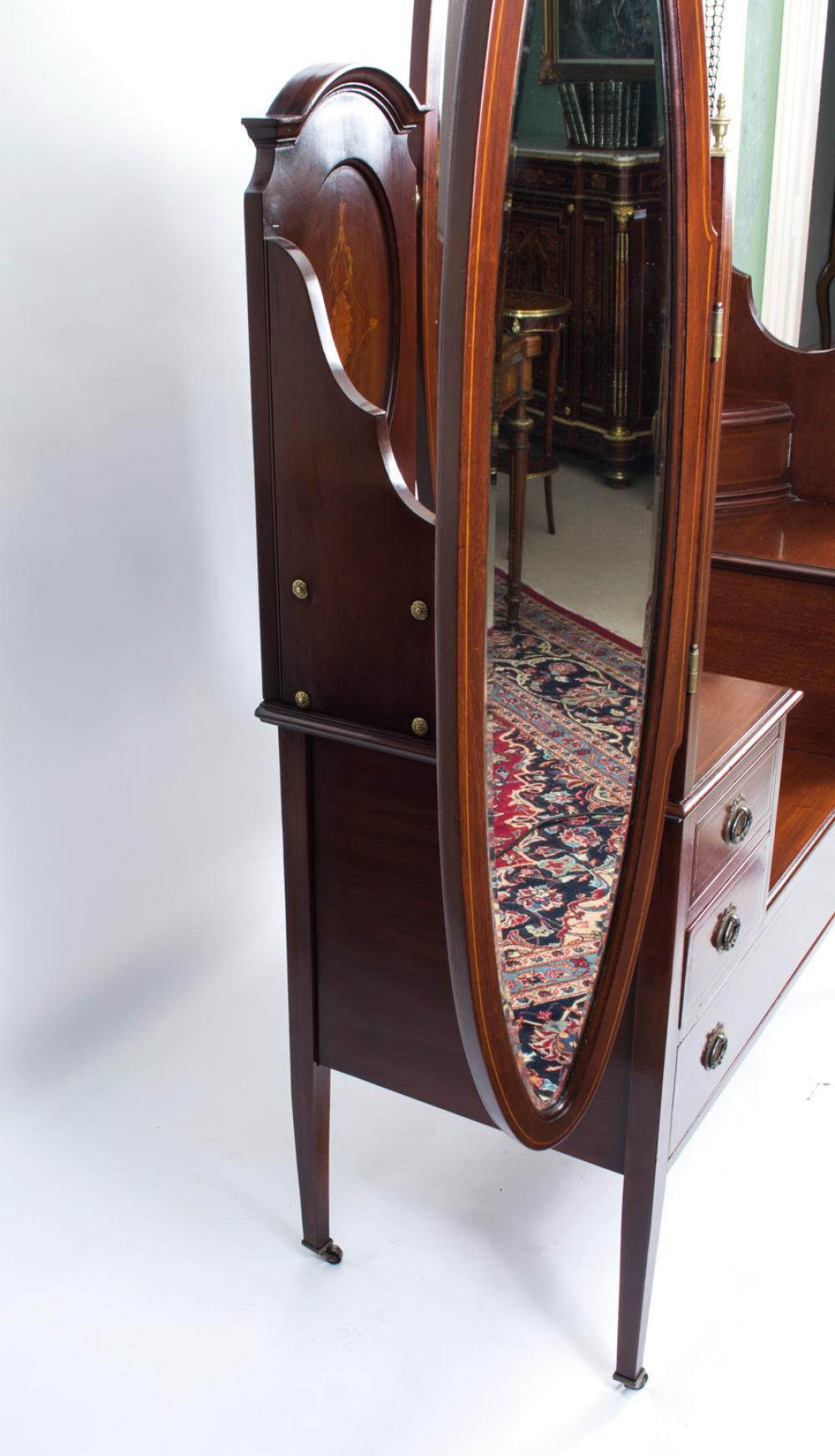 Antique Edwardian Mahogany Triple Mirror Dressing Table C 19