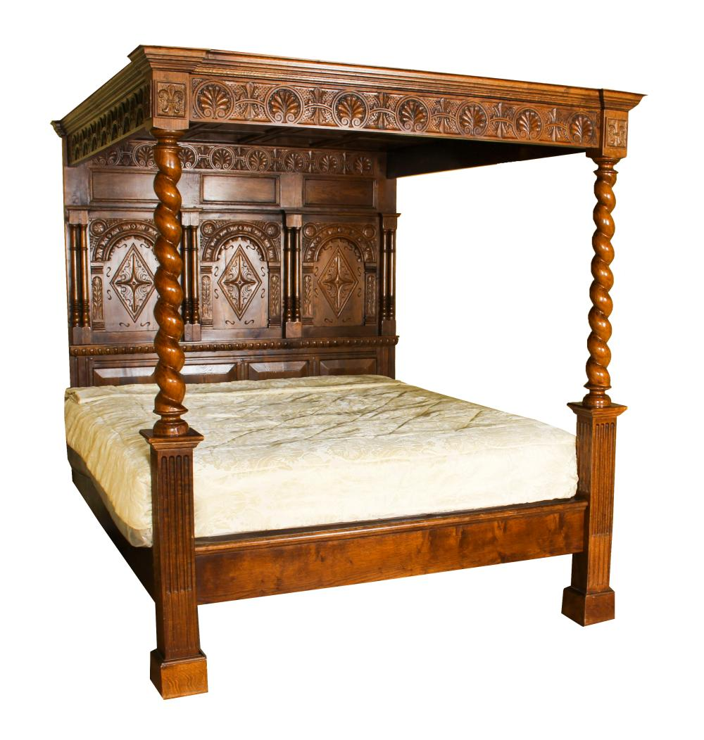 - Vintage King Size Jacobean Four Poster Bed With Canopy Mid 2