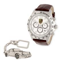 a98dbfe104fb Conjunto de reloj de caballero S S para Porsche y llavero de plata sterling  con reproducción del