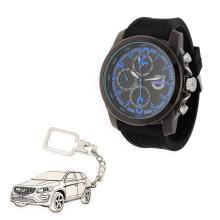 c6aa413b294d Conjunto de reloj de caballero S S para Volvo y llavero de plata sterling  con reproducción de