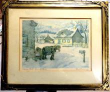 Paul Caron 1932 Original Woodblock - Canadian Artist
