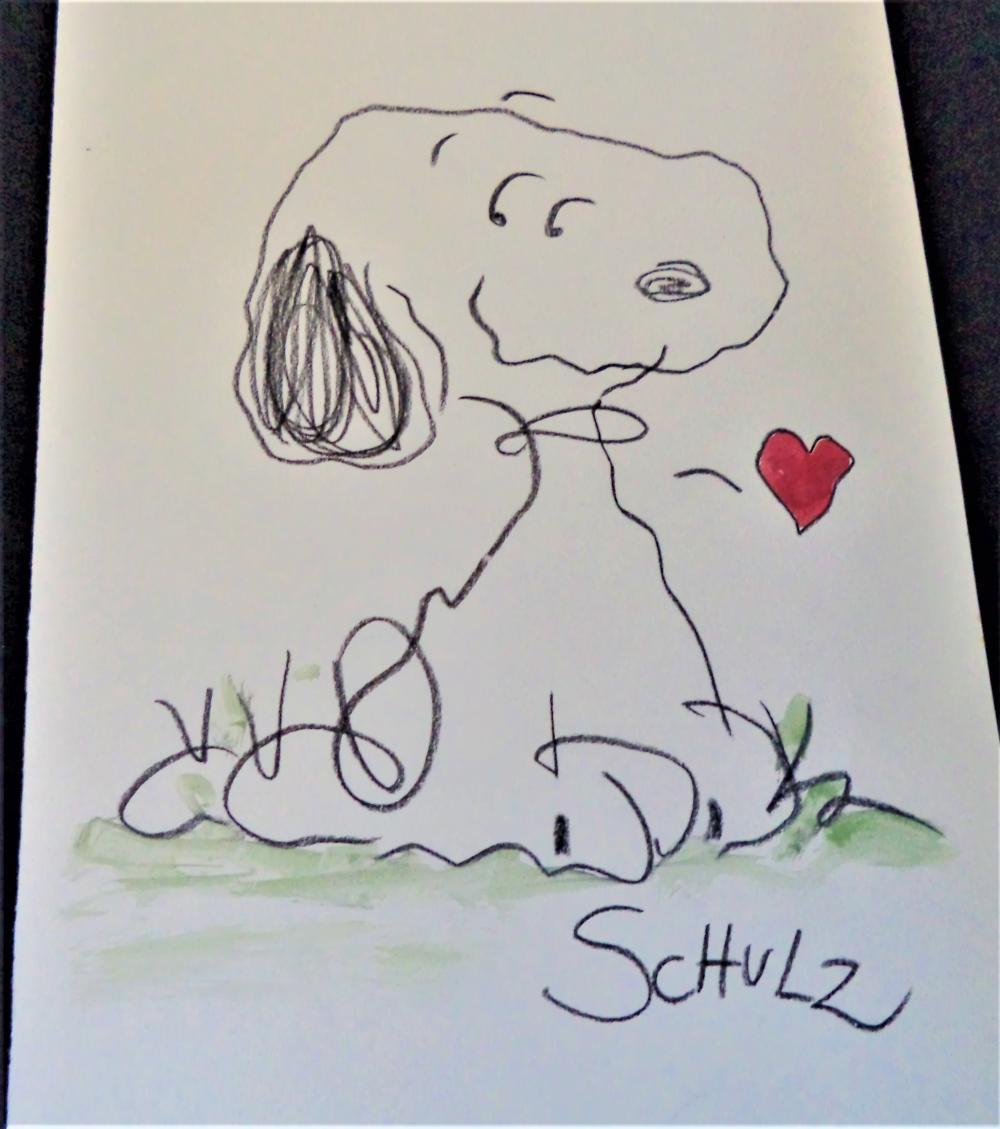 Charles Schulz Snoopy Peanuts Watercolor & Crayon Drawing