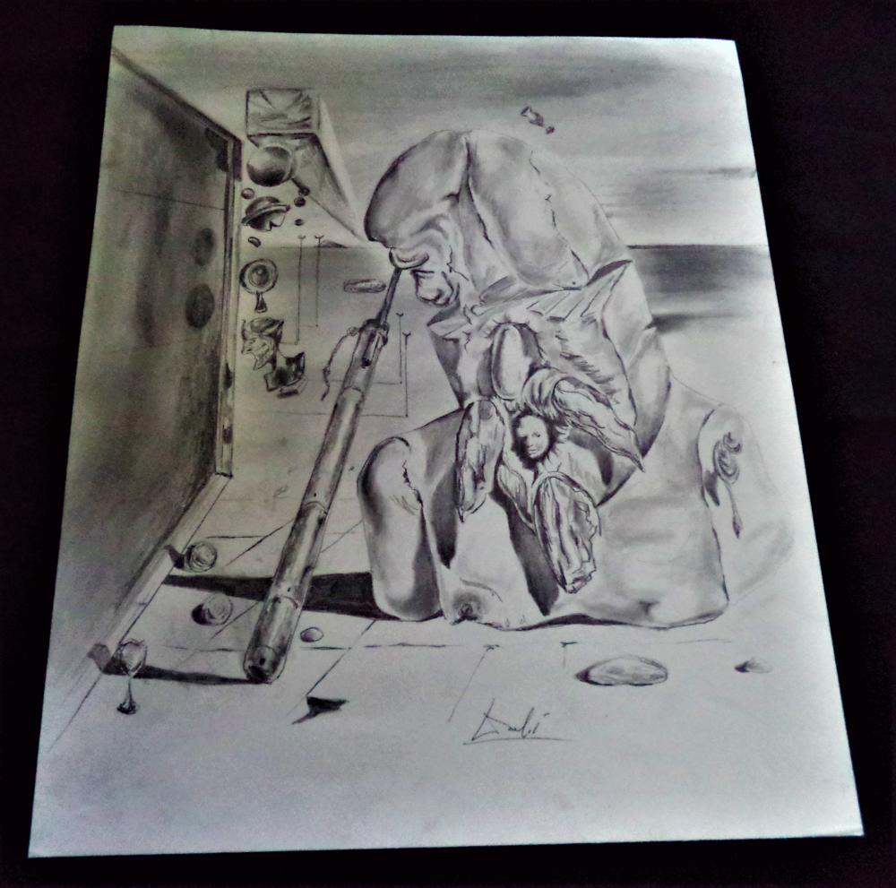 Signed dali large abstract highly detailed pencil drawing