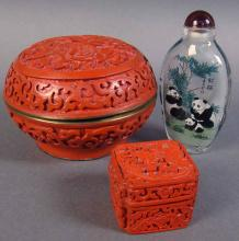 Pair of Asian Motif Cinnabar Boxes with Enameling Inside