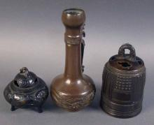 Lot Including Three Asian Bronze Items. Pair of Inscence Burners and Pitcher