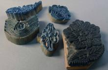 Set of Four Vintage Turkish Fabric Stamps