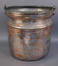 Vintage Hand Crafted Turkish Copper Bucket with Handle
