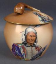 Marked  TV Limoges France, Tobacco Humidor with Native American and  Pipe Finial
