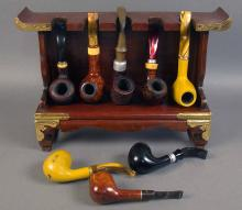Wooden Asian Style Pipe Rack with Eight Vintage Pipes