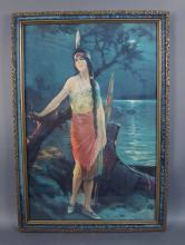 Vintage Indian Maiden Print in Period Frame