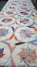 Vintage Hand Stiched Pin Wheel Quilt Top