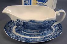 MIB Staffordshire Liberty Blue, Gravy Boat and Under Plate, Covered Sugar and Creamer