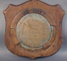 US Navy, President of United States Plaque . Made of brass in Wooden Holder