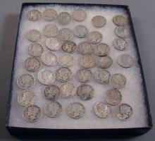 Lot Including Approx. 40 Mercury Dimes