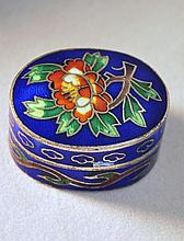 VINTAGE HAND PAINTED ENAMEL PILL BOX